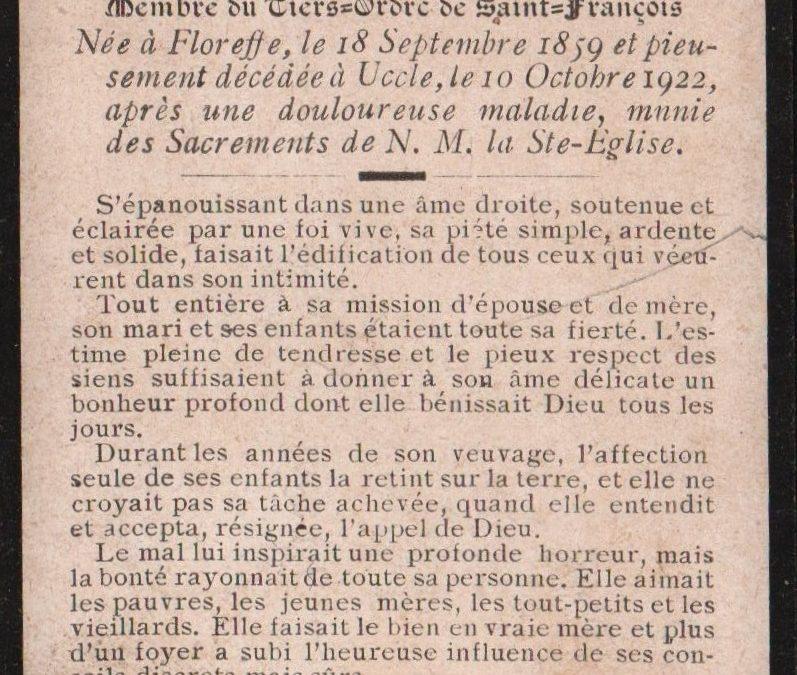 Floreffe – souvenirs mortuaires – les patronymes KINAUX