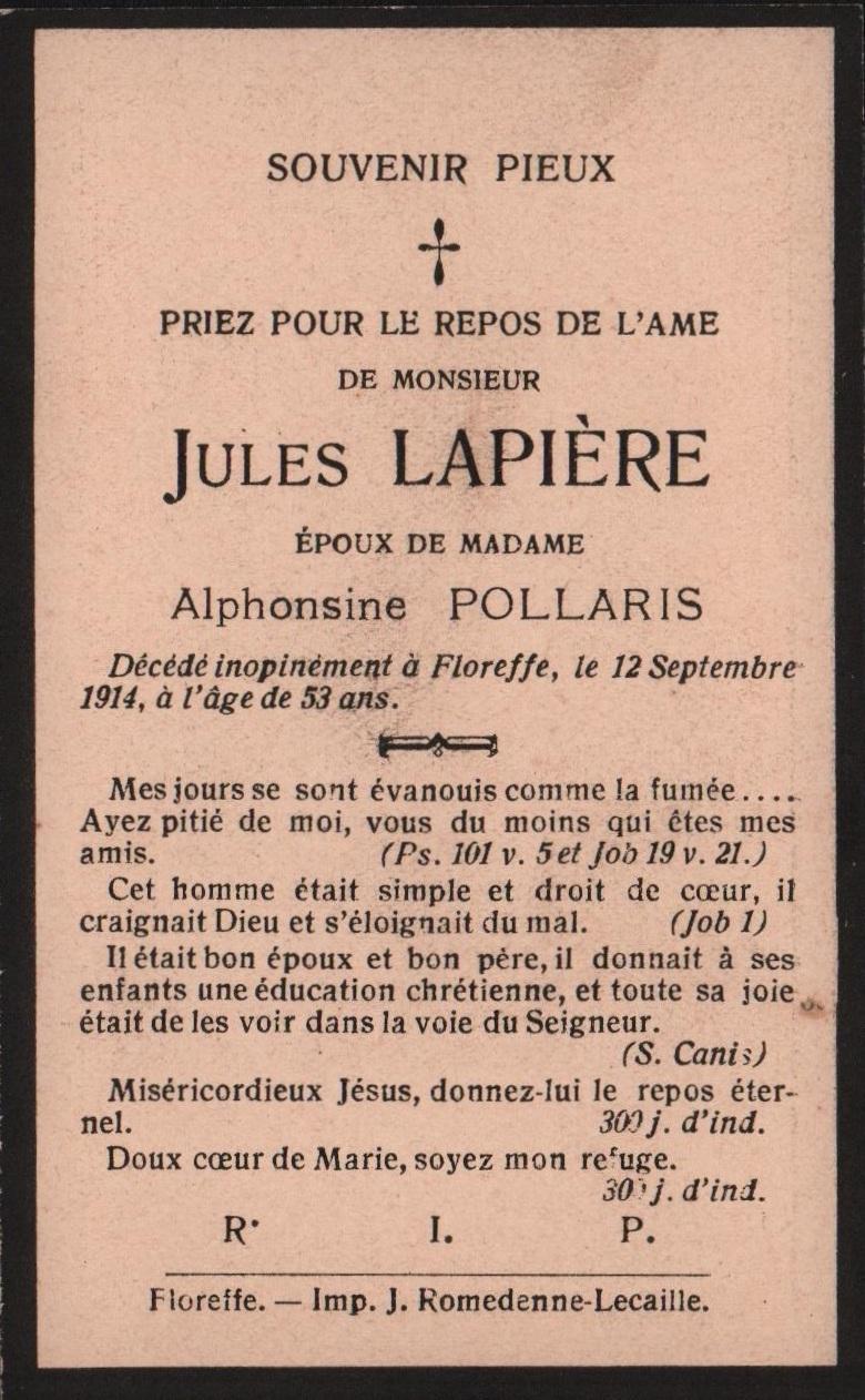 Floreffe – souvenirs mortuaires – les patronymes LAPIERE