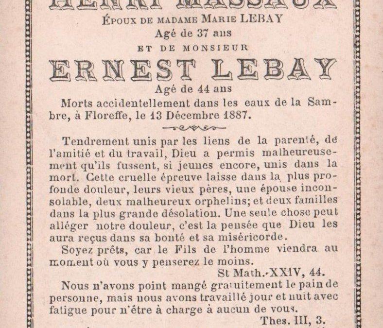 Floreffe – souvenirs mortuaires – les patronymes LEBAY
