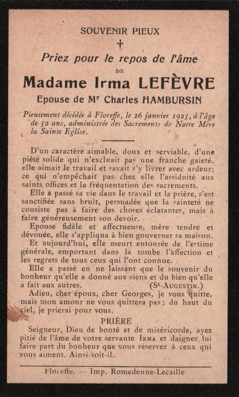 Floreffe – souvenirs mortuaires – les patronymes LEFEVRE