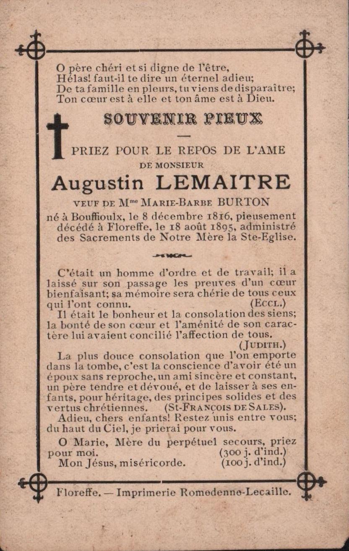 Floreffe – souvenirs mortuaires – les patronymes LEMAITRE