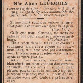 Floreffe – souvenirs mortuaires – les patronymes LEURQUIN