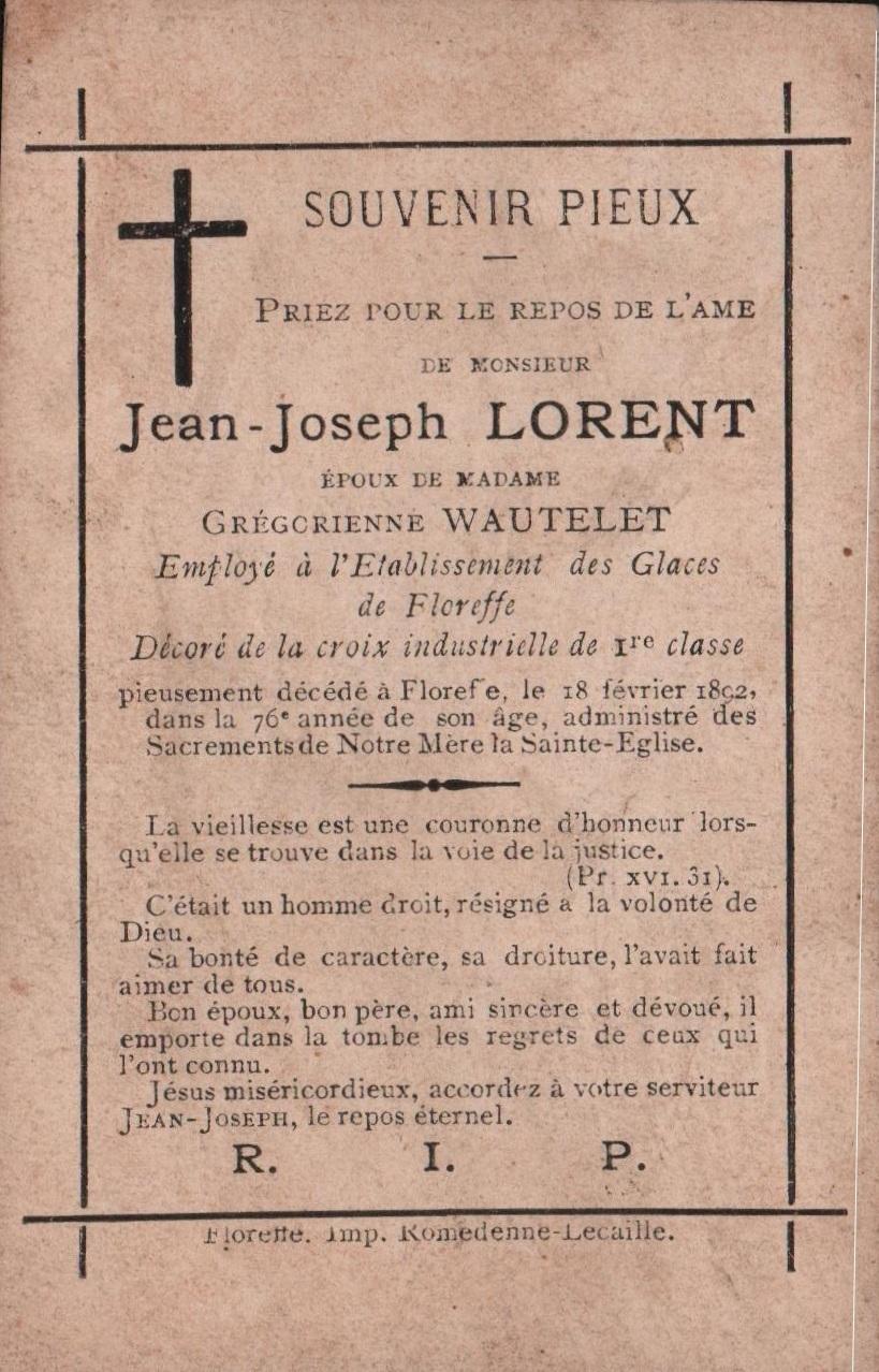 Floreffe – souvenirs mortuaires – les patronymes LORENT