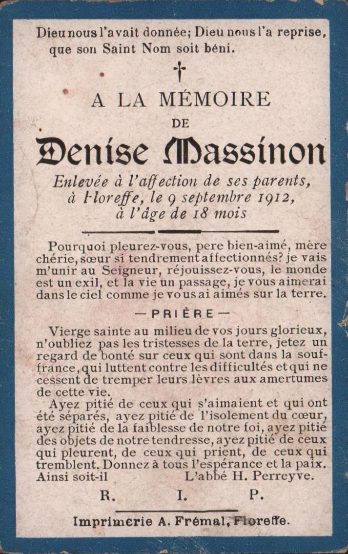 Floreffe – souvenirs mortuaires – les patronymes MASSINON