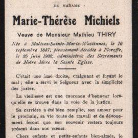 Floreffe – souvenirs mortuaires – les patronymes MICHIELS