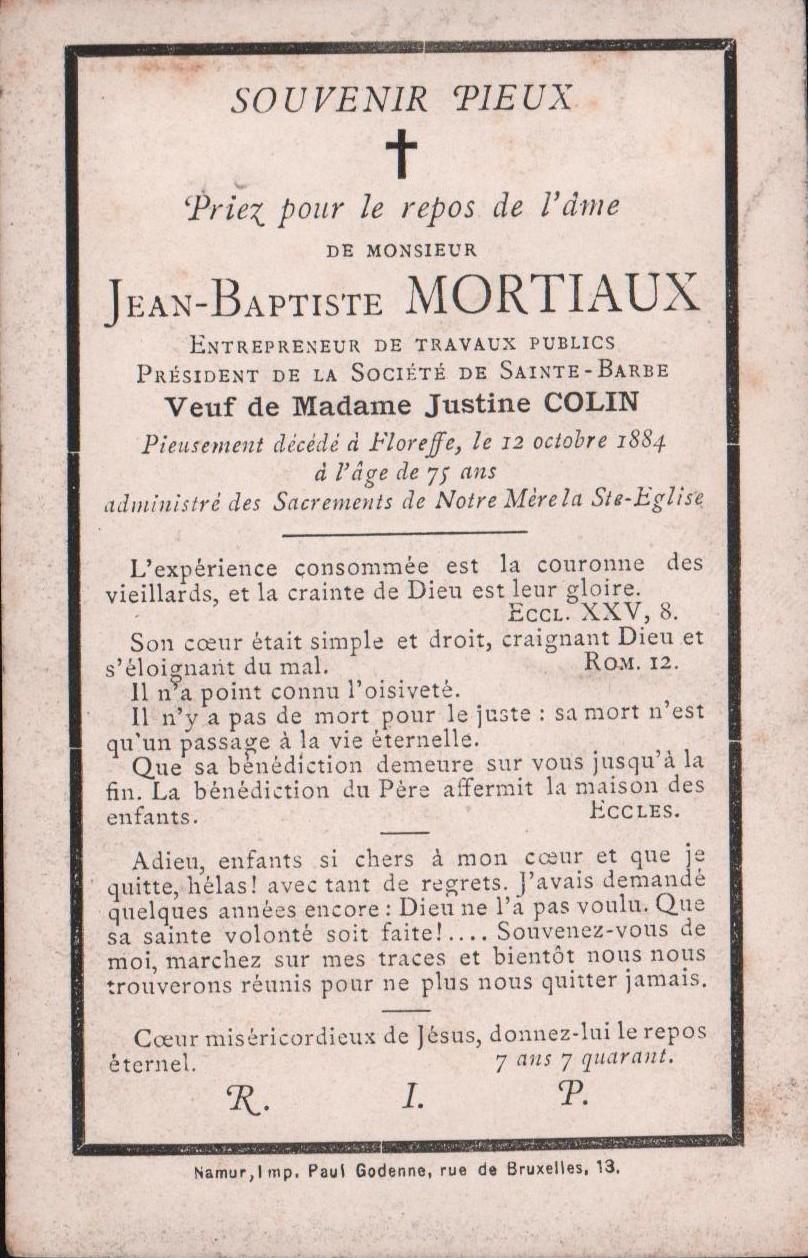 Floreffe – souvenirs mortuaires – les patronymes MORTIAUX