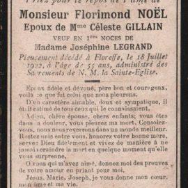 Floreffe – souvenirs mortuaires – les patronymes NOEL