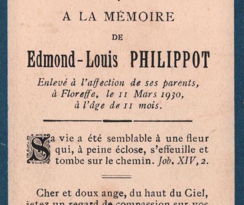 Floreffe – souvenirs mortuaires – les patronymes PHILIPPOT