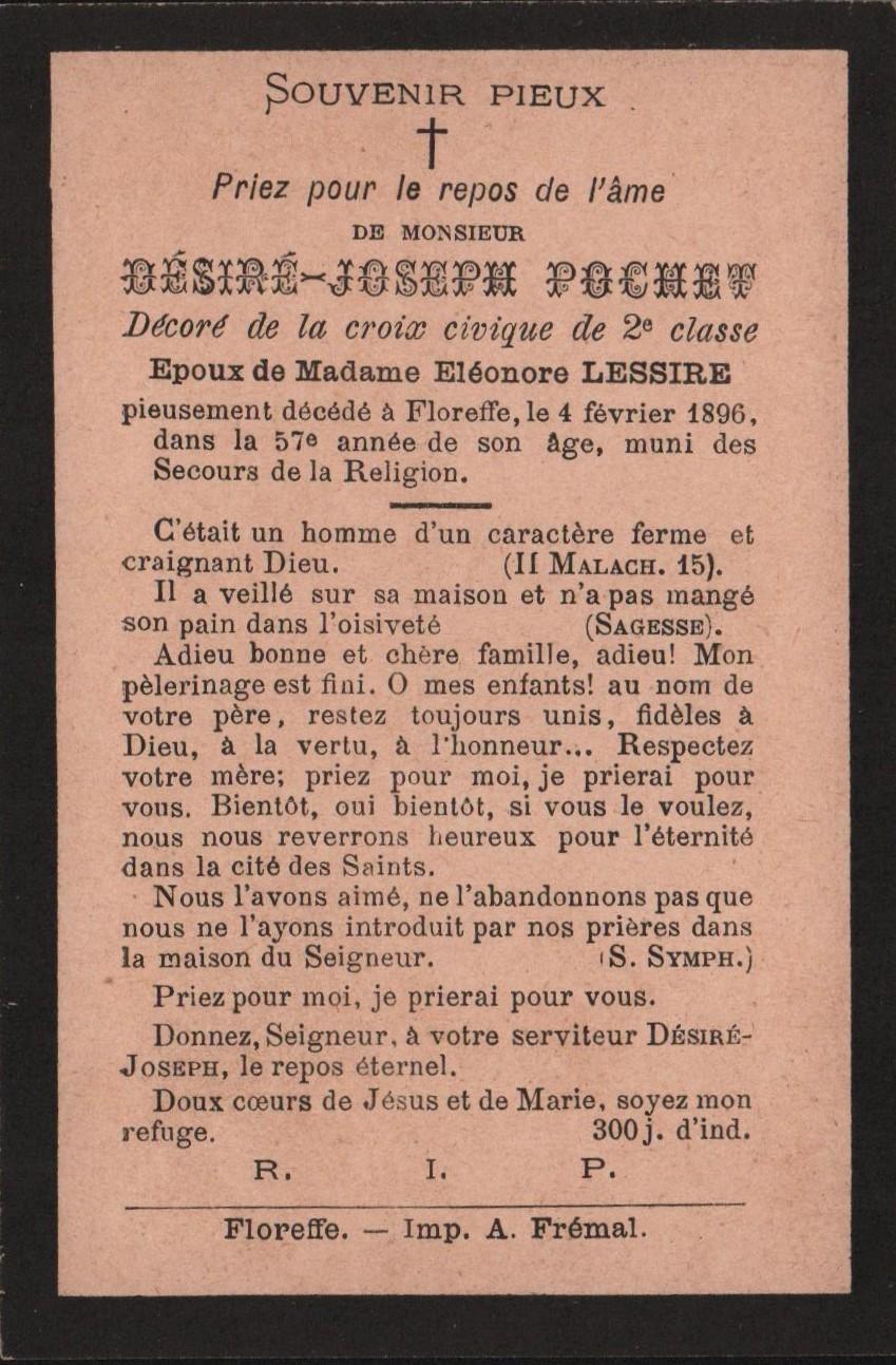 Floreffe – souvenirs mortuaires – les patronymes POCHET