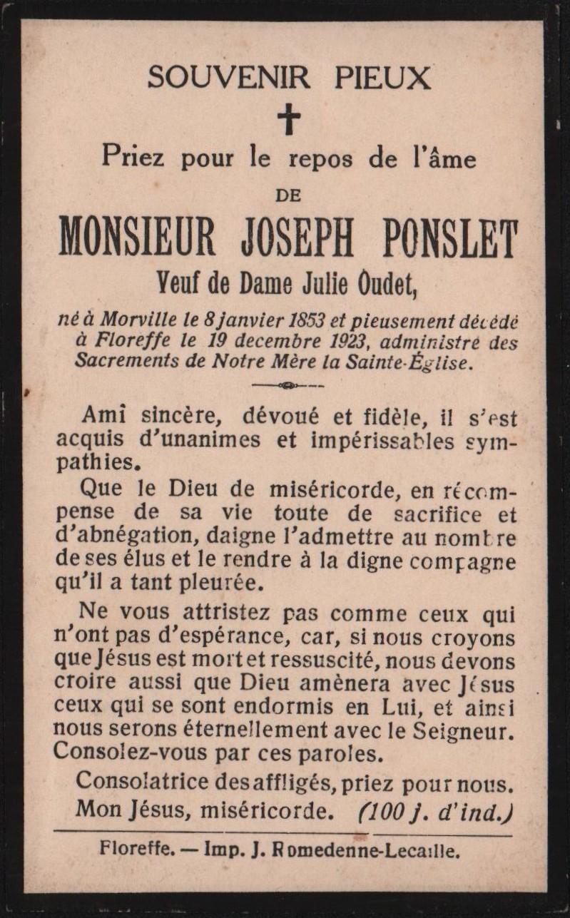 Floreffe – souvenirs mortuaires – les patronymes PONSLET