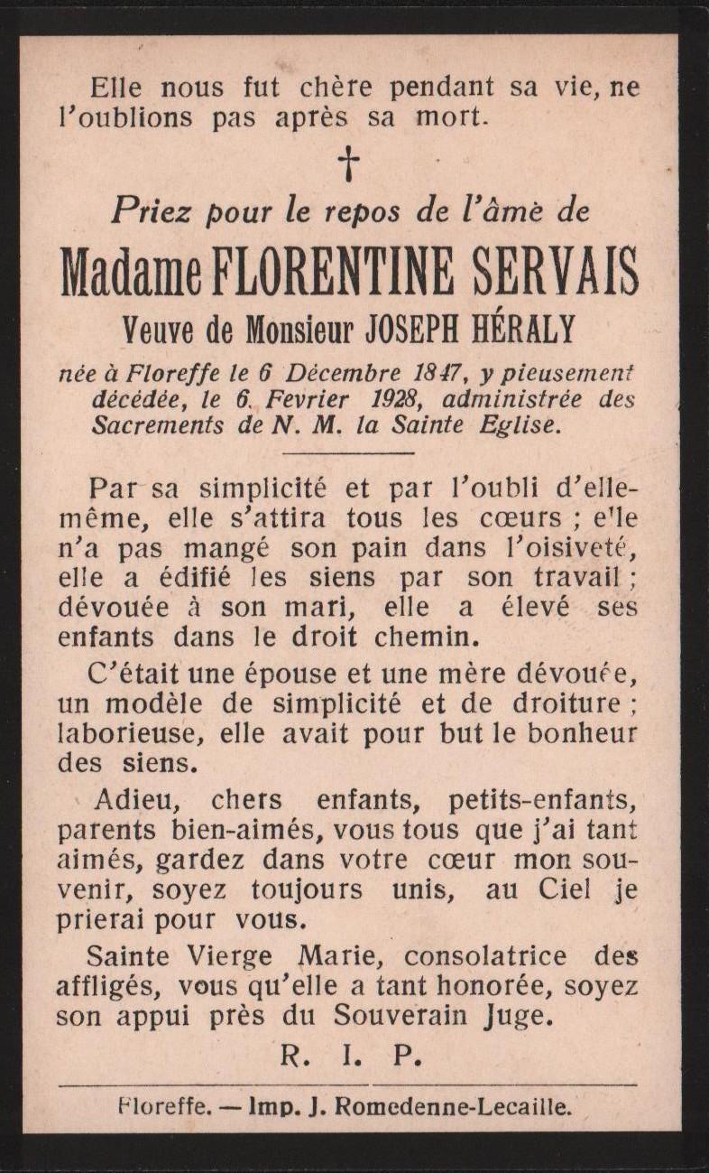 Floreffe – souvenirs mortuaires – les patronymes SERVAIS