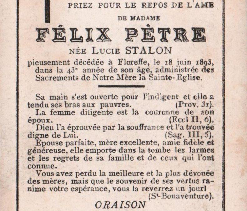 Floreffe – souvenirs mortuaires – les patronymes STALON