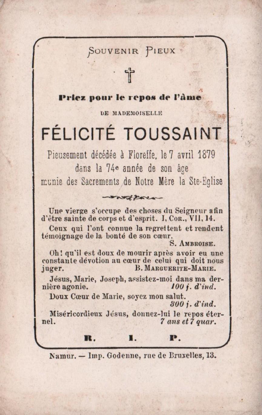 Floreffe – souvenirs mortuaires – les patronymes TOUSSAINT