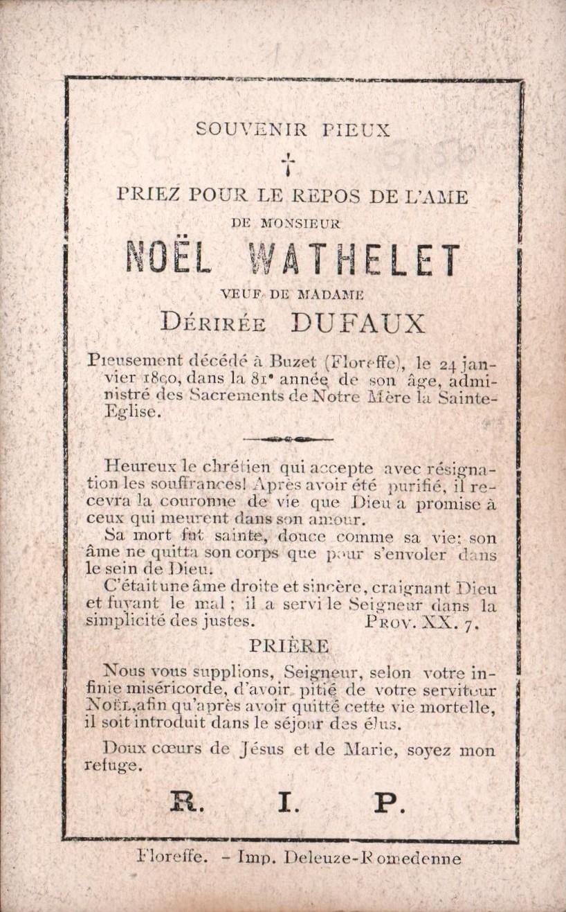 Floreffe – souvenirs mortuaires – les patronymes WATHELET