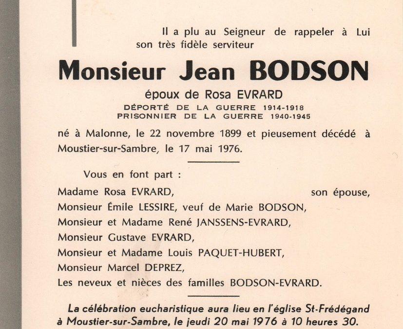 Soye – souvenirs mortuaires – les patronymes BODSON