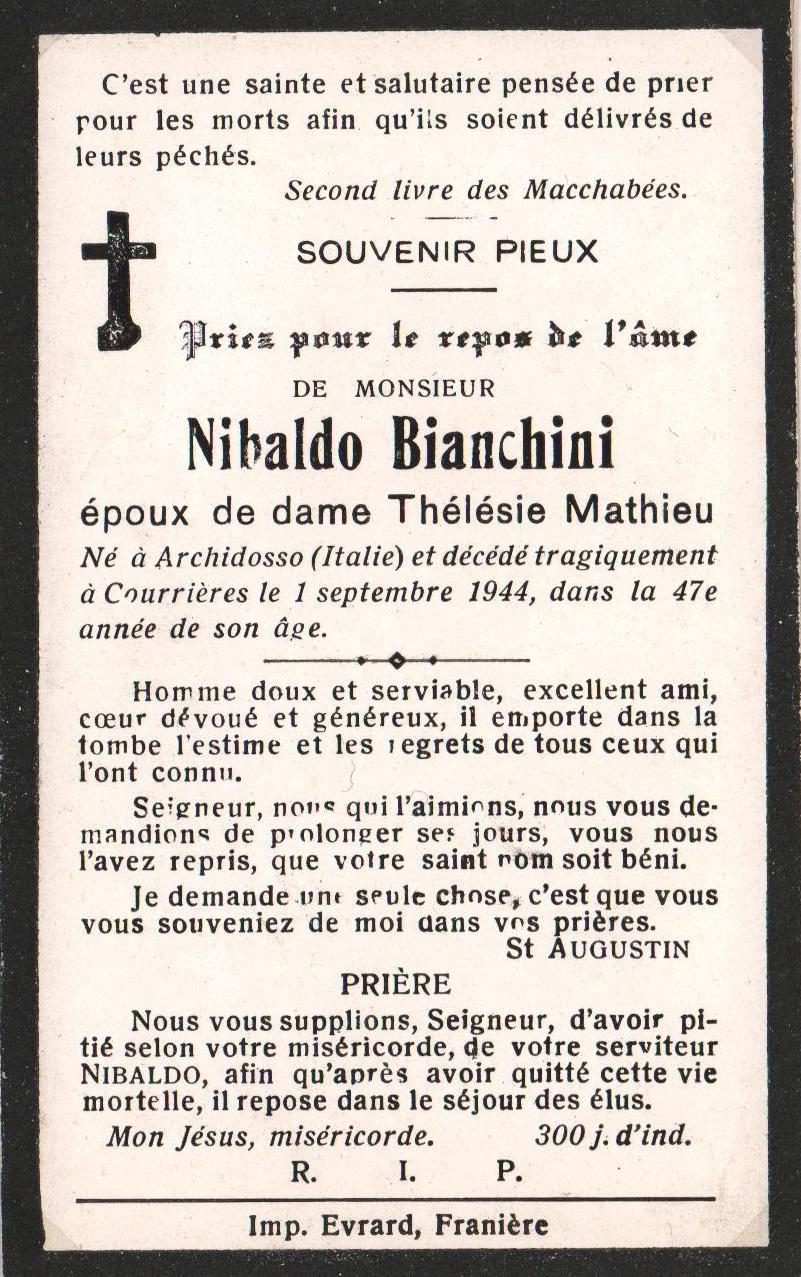 Soye – souvenirs mortuaires – les patronymes BIANCHINI