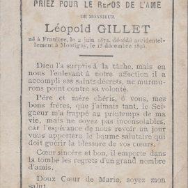 Franière – souvenirs mortuaires – les patronymes GILLET