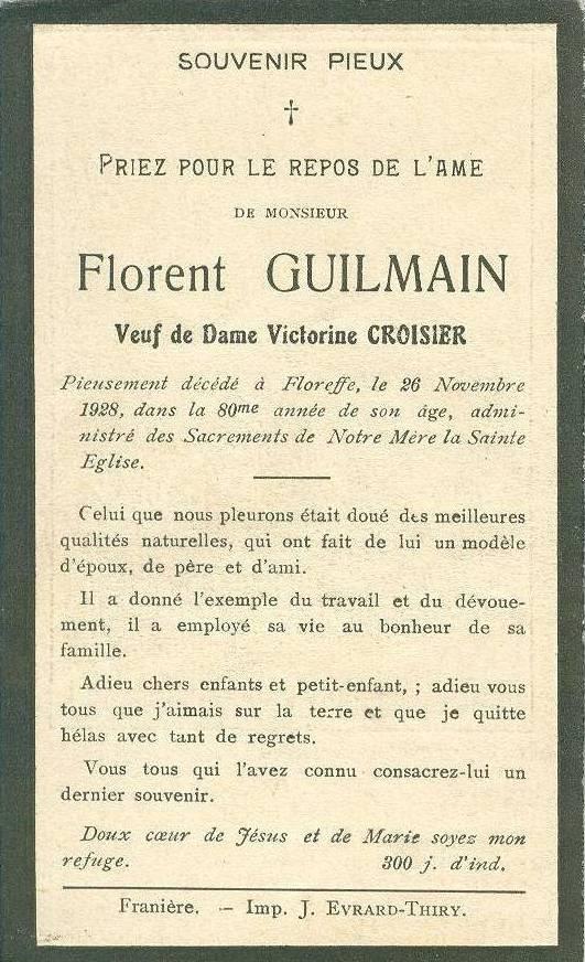 Floreffe – souvenirs mortuaires – les patronymes GUILMAIN
