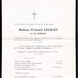 Floreffe – souvenirs mortuaires – les patronymes MARCHAL
