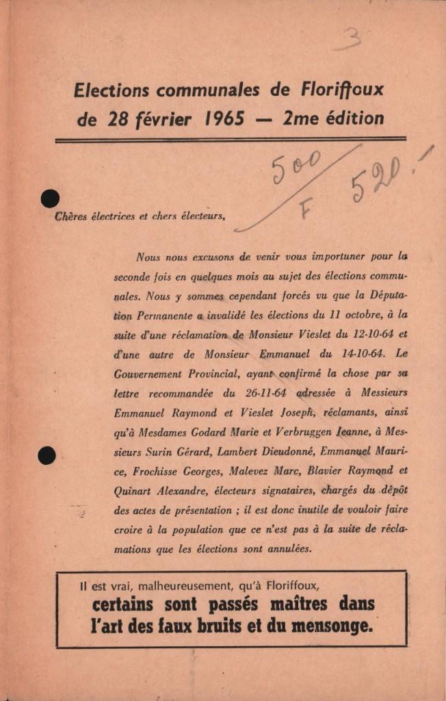 Floriffoux – élections communales de 1965 – tract