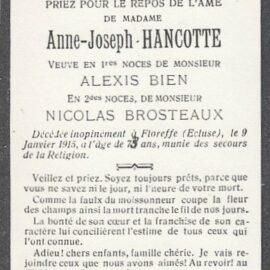 Floreffe – souvenirs mortuaires – les patronymes HANCOTTE