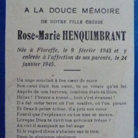 Floreffe – souvenirs mortuaires – les patronymes HENQUIMBRANT