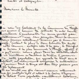 Floriffoux – demande de création d'un bureau de poste – 1914