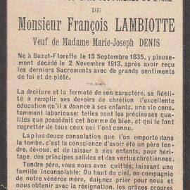 Floreffe – souvenirs mortuaires – les patronymes LAMBIOTTE