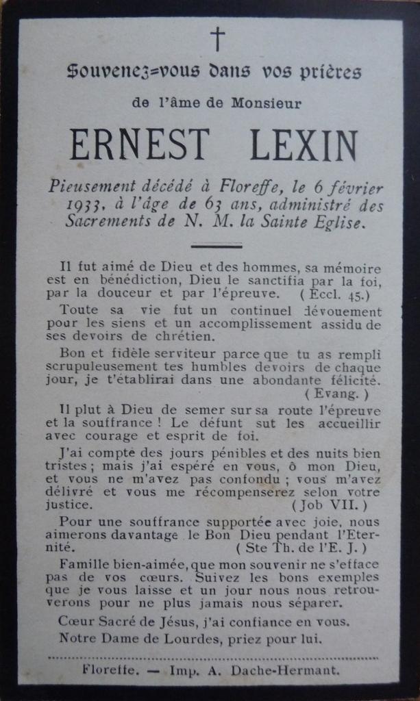 Floreffe – souvenirs mortuaires – les patronymes LEXIN
