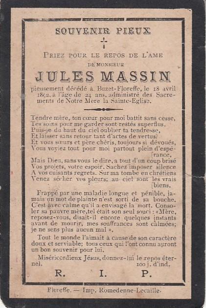 Floreffe – souvenirs mortuaires – les patronymes MASSIN