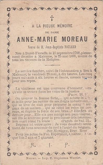 Floreffe – souvenirs mortuaires – les patronymes MOREAU