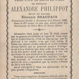Franière – souvenirs mortuaires – les patronymes PHILIPPOT