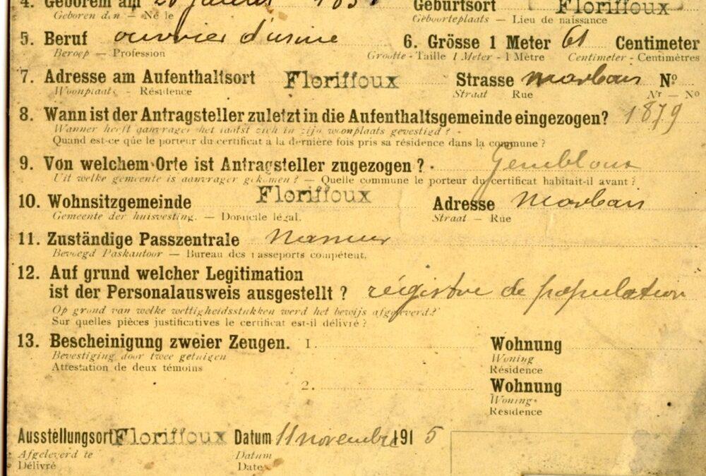Floriffoux – Ausweis – Alexandre NAMUR – 1851