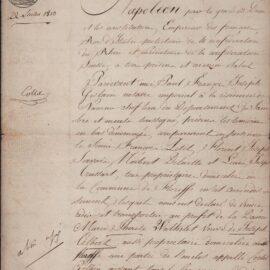 Floreffe – acte notarié d'achat – Marie-Thérèse WATHELET – 1813