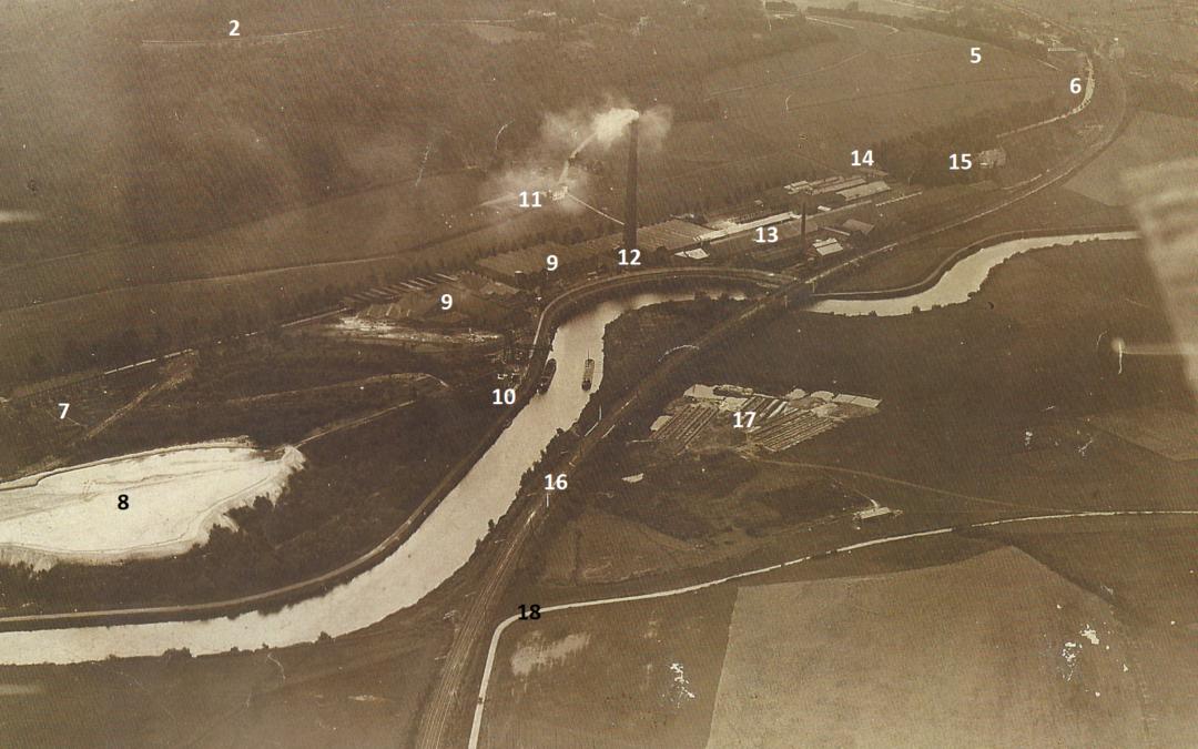 Floreffe – rue Riverre – manufacture de glaces et fabrique de produits chimiques – vues aériennes