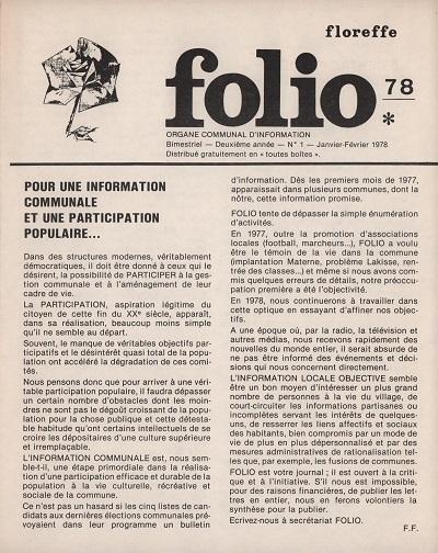 Folio – janvier-février 1978 – n°1